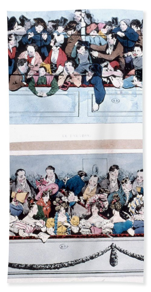 1830 Bath Sheet featuring the painting Theatre, Paris, C1830 by Granger