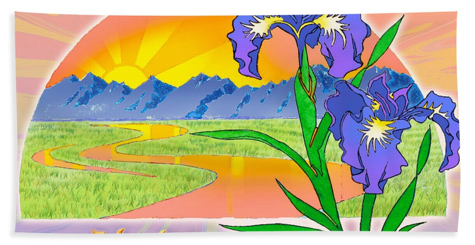 Sunrise Bath Sheet featuring the painting Themes Of The Heart-hope by Teresa Ascone