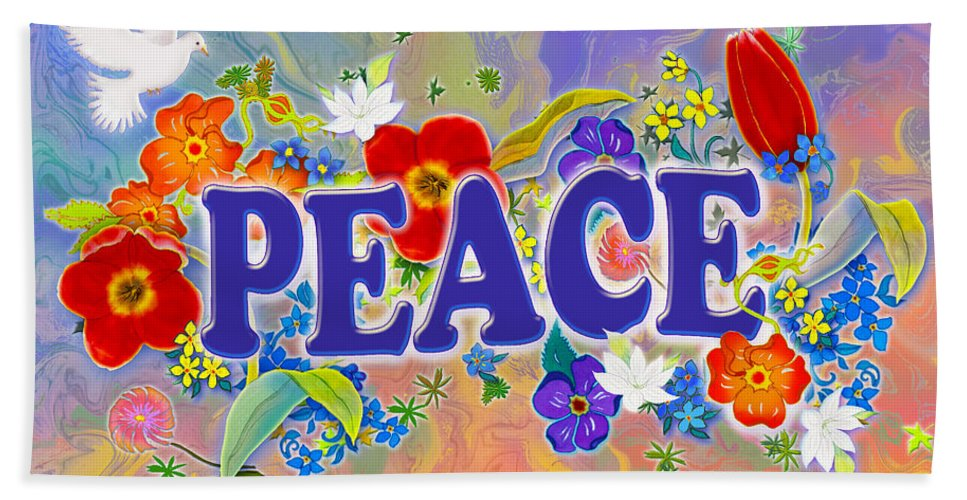 Peace Bath Sheet featuring the painting Themes Of The Heart-peace by Teresa Ascone
