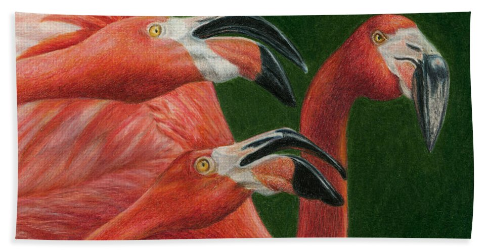 Flamingos Hand Towel featuring the painting There Are Always Critics by Pat Erickson