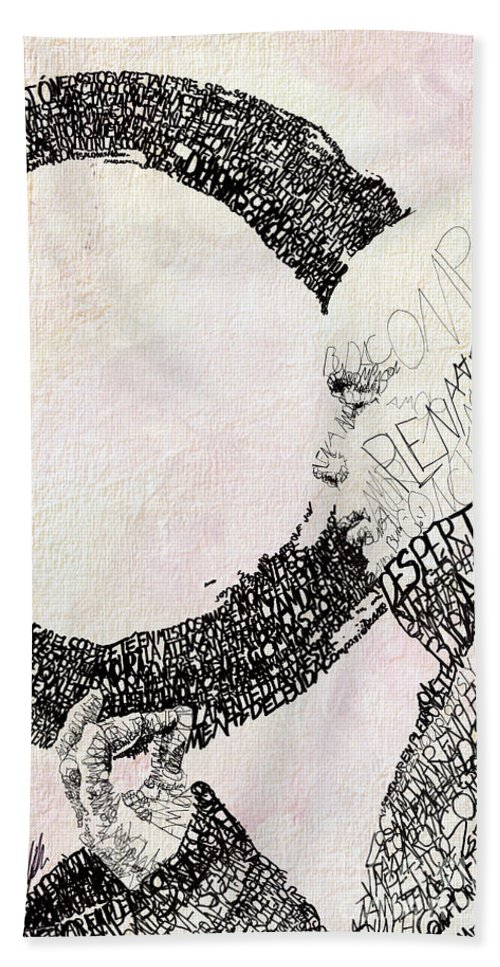 Thich Nhat Hanh Hand Towel featuring the drawing Thich Nhat Hanh by Michael Volpicelli