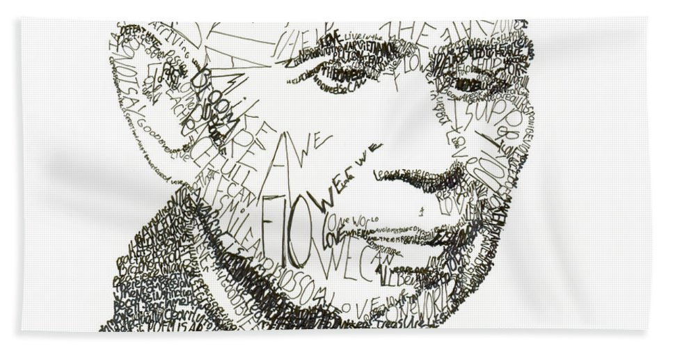 Compassion Bath Sheet featuring the drawing Thich Nhat Hanh by Michael Volpicelli