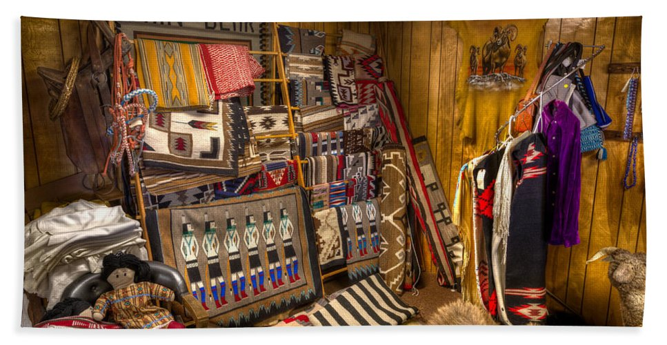 Native Hand Towel featuring the photograph Thin Bear Trading Post Utah by Steve Gadomski