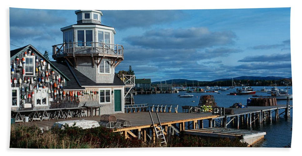 Photography Bath Sheet featuring the photograph This Is A Lobster Village In New by Panoramic Images