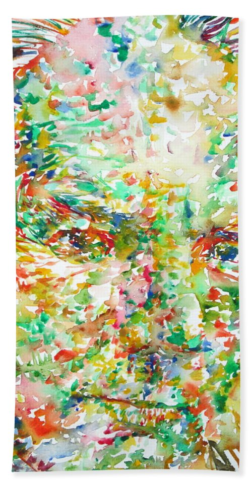 Thomas Bath Sheet featuring the painting Thomas Bernhard Watercolor Portrait by Fabrizio Cassetta