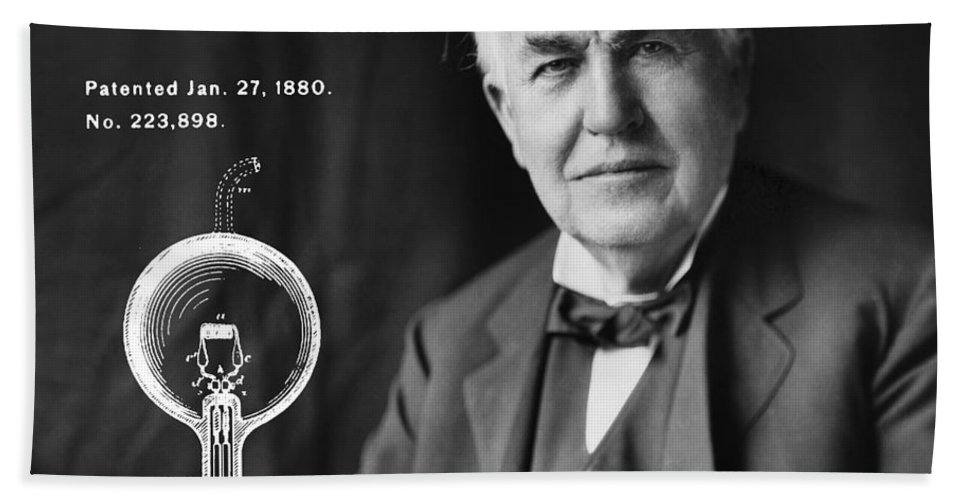 1880 Hand Towel featuring the digital art 1880 Thomas Edison Electric Lamp Patent Art 1 by Nishanth Gopinathan