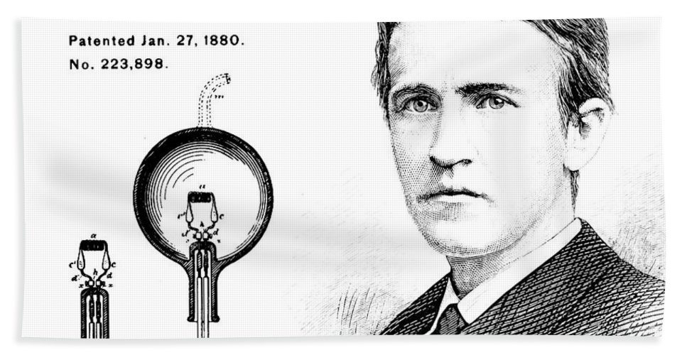 1880 Hand Towel featuring the digital art 1880 Thomas Edison Electric Lamp Patent Art 2 by Nishanth Gopinathan