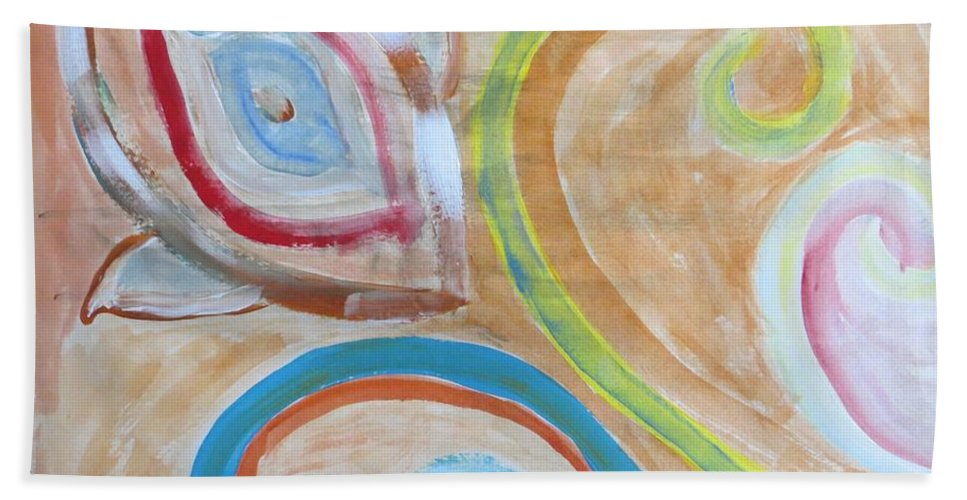 Spiral Floral Work With Strokes Of Acrylic Hand Towel featuring the painting Thought by Sonali Gangane