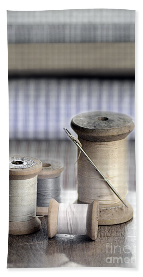 Thread Hand Towel featuring the photograph Thread And Needle by Jill Battaglia