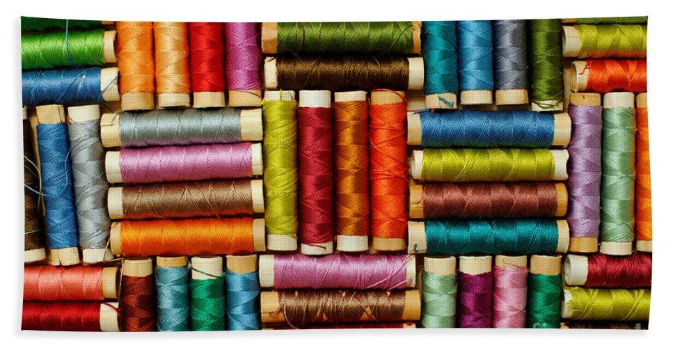 Thread Hand Towel featuring the photograph Thread Reels by Grigorios Moraitis