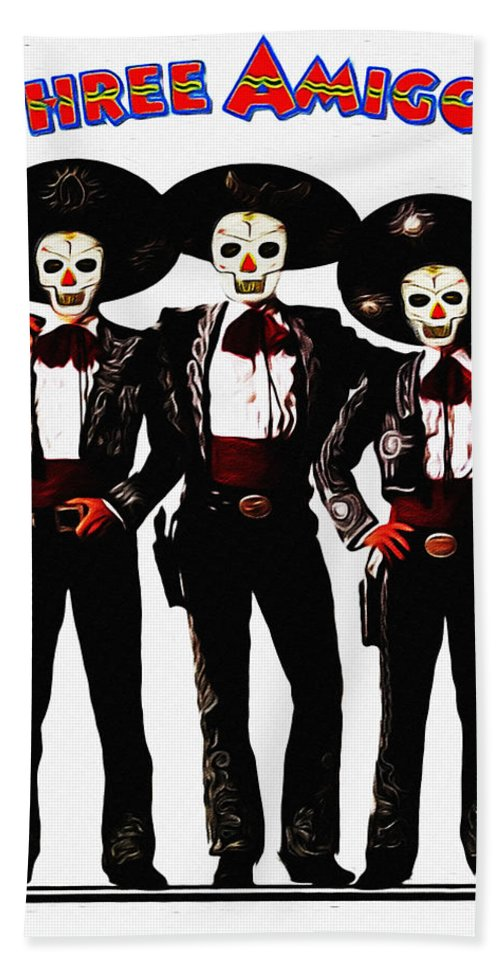 three bath towel featuring the photograph three amigos day of the dead by bill cannon