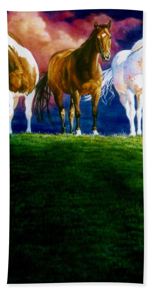 Painting Of Three Horses Bath Sheet featuring the painting Three Amigos by Hanne Lore Koehler