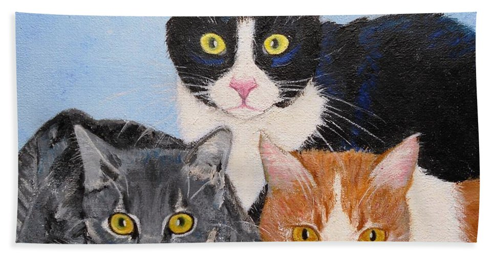 Cat Bath Sheet featuring the painting Three Amigos by Jamie Frier