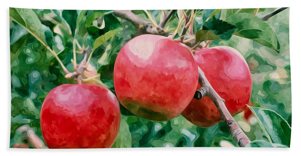 Three Apples On Tree Bath Sheet featuring the painting Three Apples On Tree by Jeelan Clark