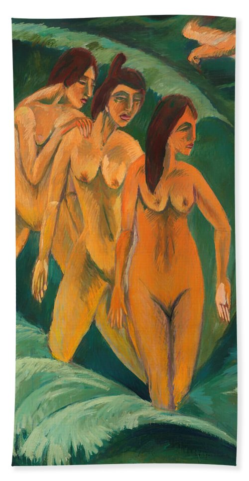Painting Hand Towel featuring the painting Three Bathers by Mountain Dreams