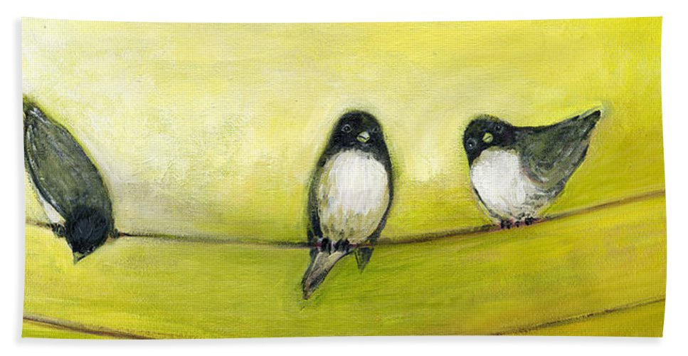 Bird Bath Towel featuring the painting Three Birds on a Wire No 2 by Jennifer Lommers
