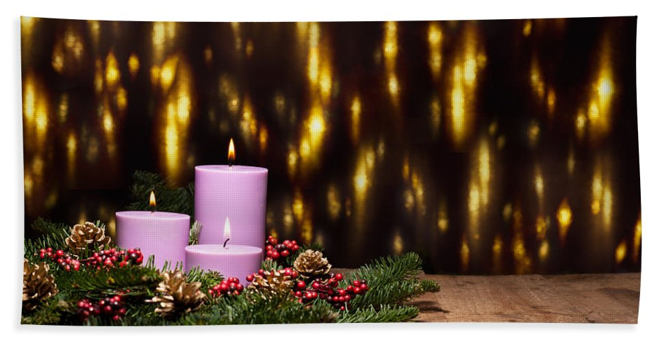 Holly Hand Towel featuring the photograph Three Candles In An Advent Flower Arrangement by U Schade