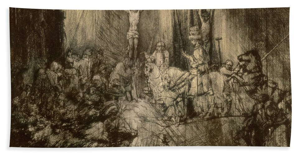 Christ Hand Towel featuring the drawing Three Crucifixes by Rembrandt Harmenszoon van Rijn