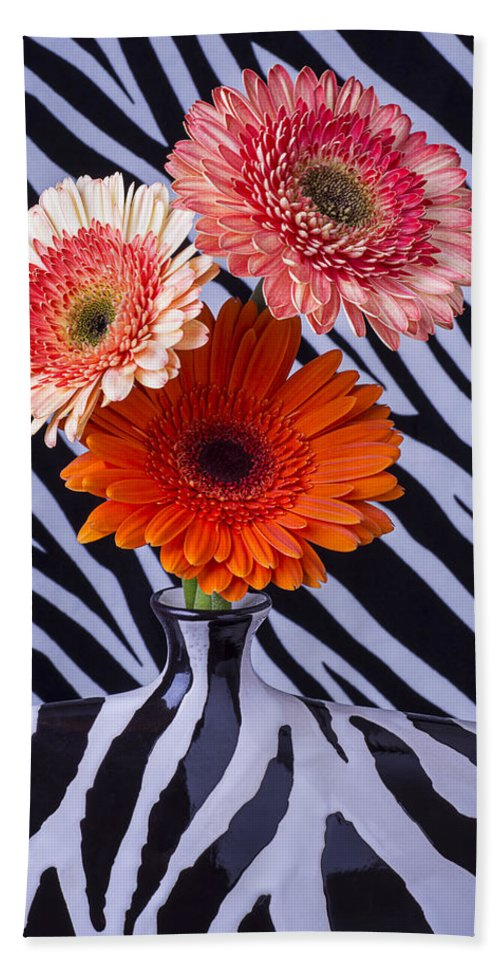 Three Orange Daisy Hand Towel featuring the photograph Three Daises In Striped Vase by Garry Gay