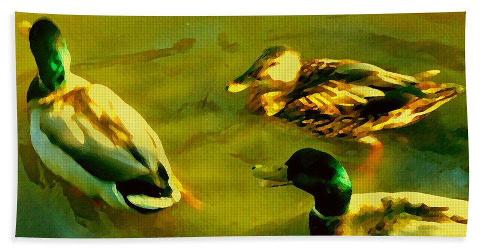 Wild Birds Bath Towel featuring the painting Three Ducks On Golden Pond by Amy Vangsgard
