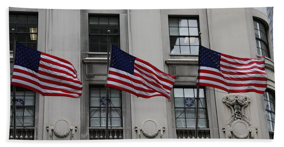 Building Bath Sheet featuring the photograph Three Flags Together On 5th Avenue by Christiane Schulze Art And Photography