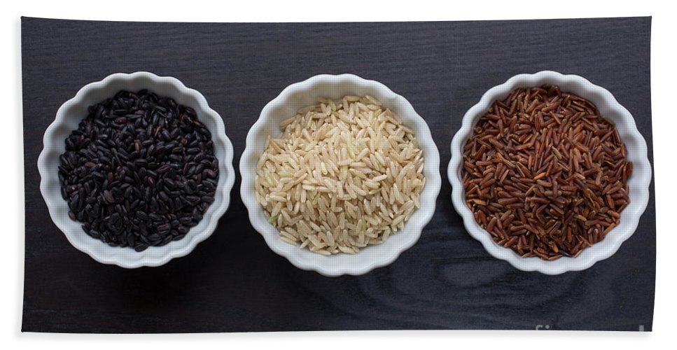 Rice Hand Towel featuring the photograph Three Kinds Of Rice by Edward Fielding