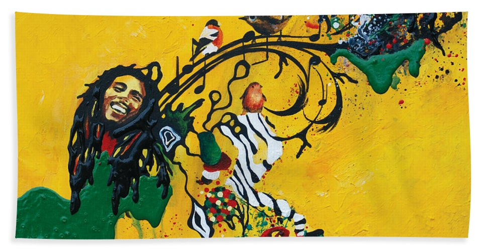 Bob Marley Hand Towel featuring the painting Three Little Birds by Jacqueline DelBrocco