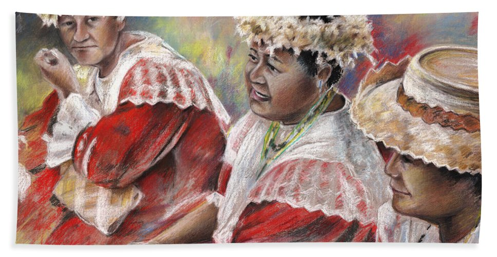Travel Hand Towel featuring the painting Three Mamas From Tahiti by Miki De Goodaboom