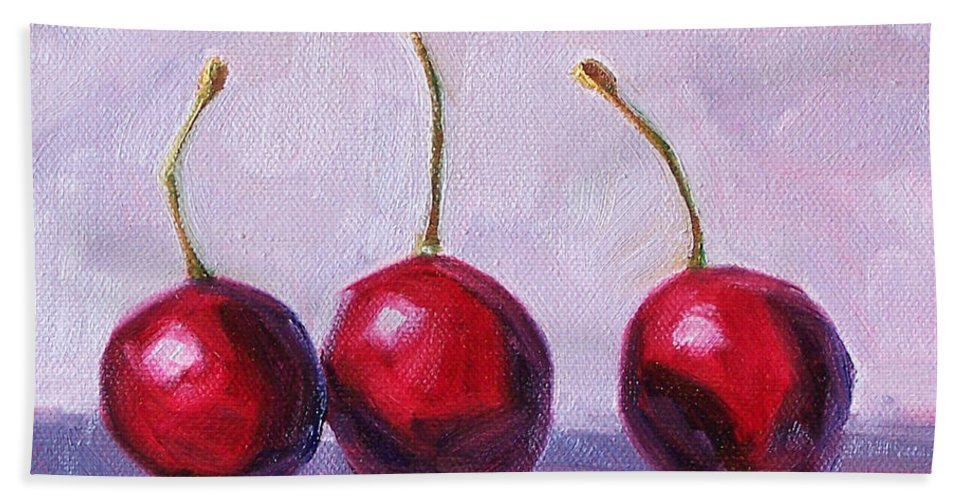 Cherries Hand Towel featuring the painting Three by Nancy Merkle