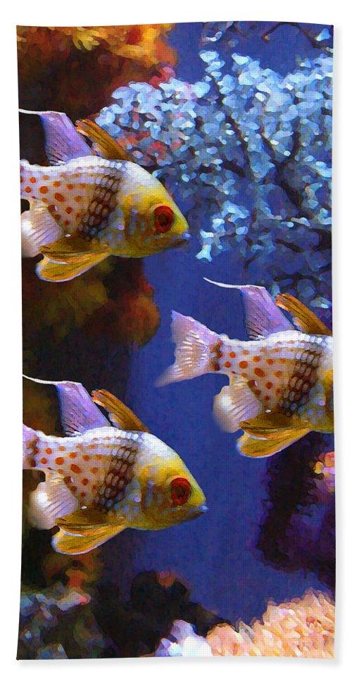 Fish Bath Towel featuring the painting Three Pajama Cardinal Fish by Amy Vangsgard