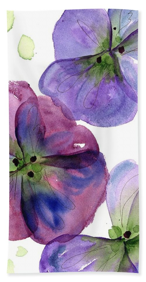 Watercolor Hand Towel featuring the painting Three Pansies by Dawn Derman