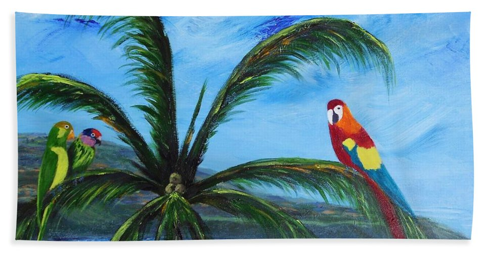 Sand Hand Towel featuring the painting Three Parrots by Jamie Frier