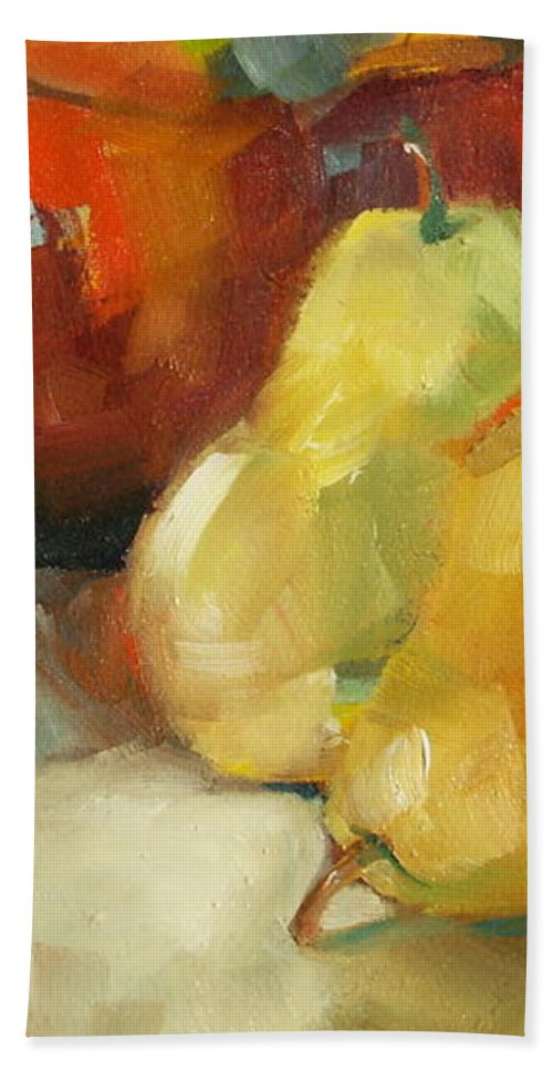 Still Life Hand Towel featuring the painting Three Pears And A Pot by Michelle Abrams