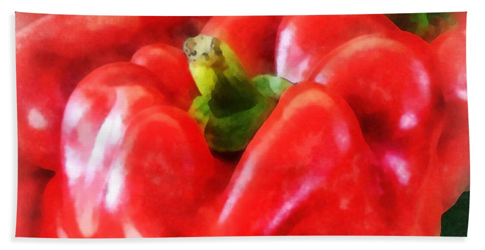 Pepper Bath Sheet featuring the photograph Three Red Peppers by Susan Savad