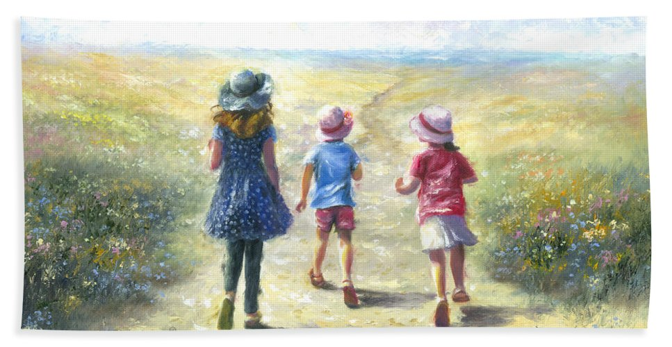 Three Sisters Hand Towel featuring the painting Three Sisters Beach Path by Vickie Wade