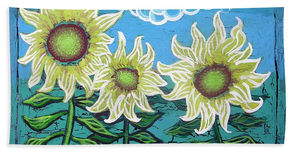Sunflower Hand Towel featuring the painting Three Sunflowers by Genevieve Esson