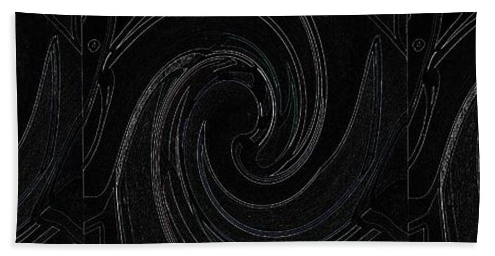 Abstract Hand Towel featuring the digital art Three Swirls On Black by Helena Tiainen