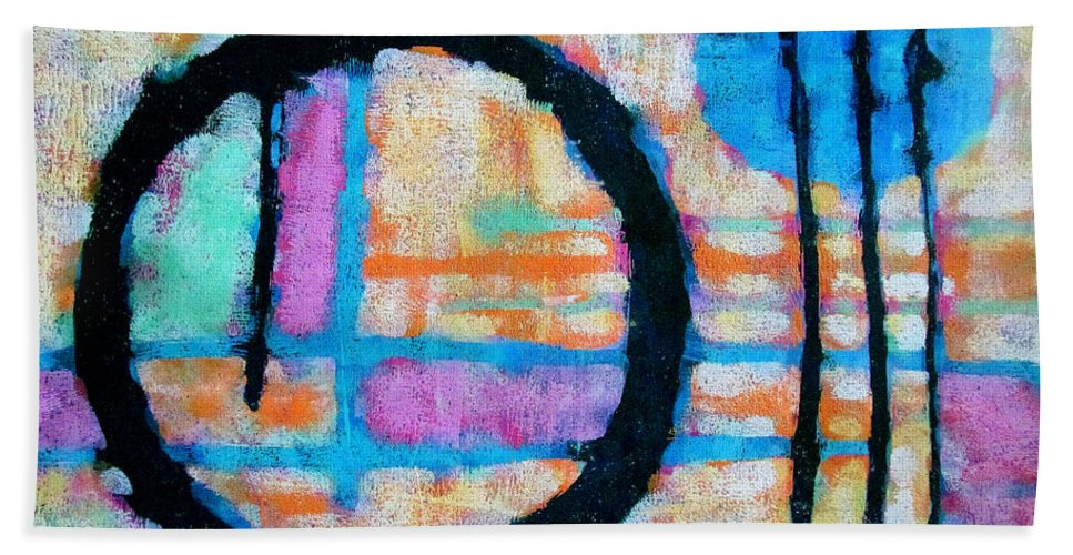 Abstract Painting Bath Sheet featuring the painting Three Towers by Maria Huntley
