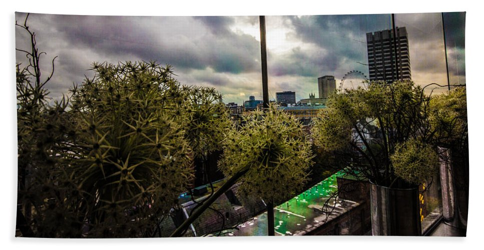 City Skyline Hand Towel featuring the photograph Through A Window by Dawn OConnor