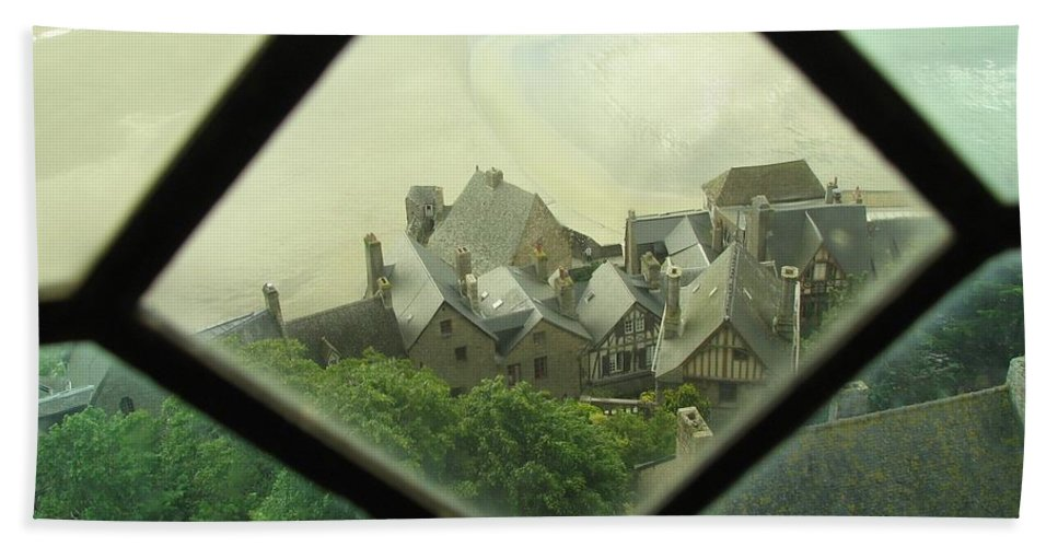Le Mont St-michel Bath Sheet featuring the photograph Through A Window To The Past by Mary Ellen Mueller Legault