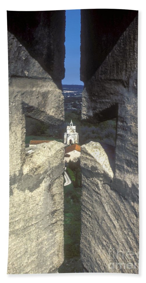 Montmajor France Cross Crosses Monastery Monasteries Bath Sheet featuring the photograph Through The Cross by Bob Phillips