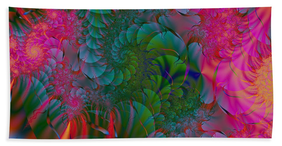 Fractal Art Hand Towel featuring the digital art Through The Electric Garden by Elizabeth McTaggart