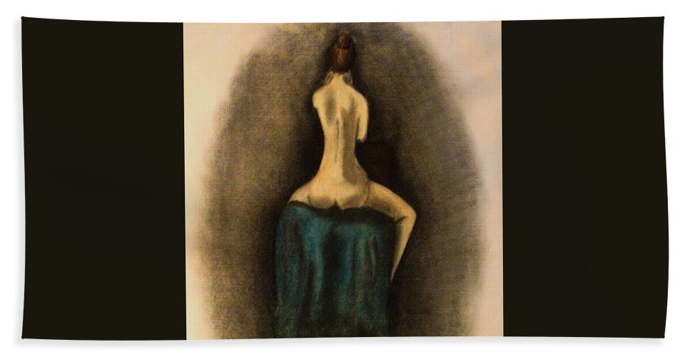 Nude Hand Towel featuring the drawing Through The Keyhole by Crystal Menicola