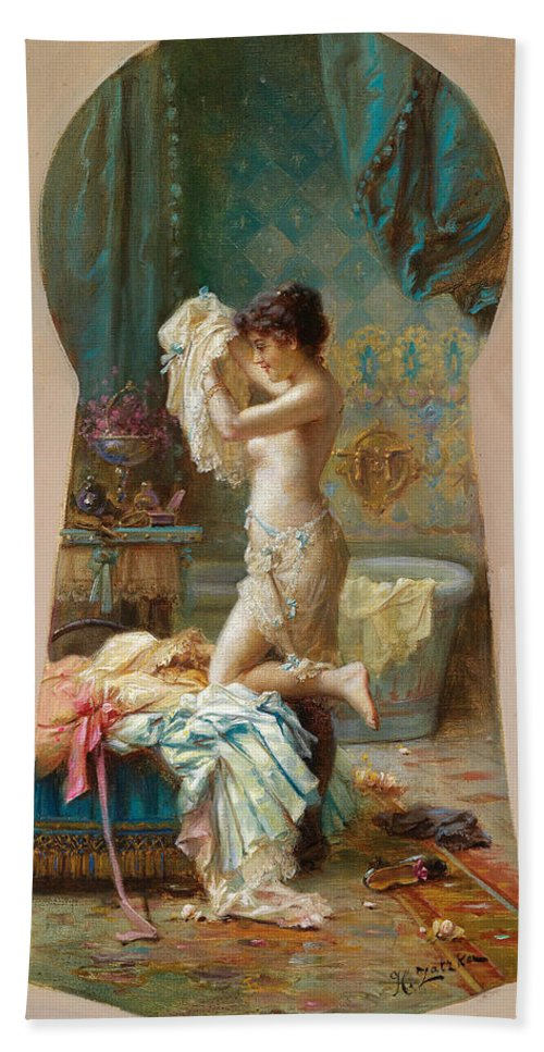Hans Hand Towel featuring the painting Through The Keyhole by Hans Zatzka