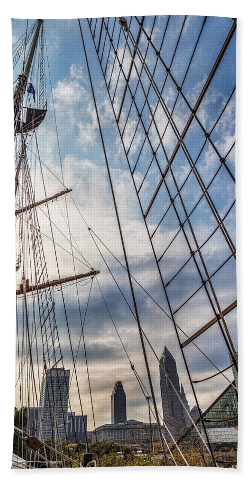 Through The Rigging Bath Sheet featuring the photograph Through The Rigging by Dale Kincaid