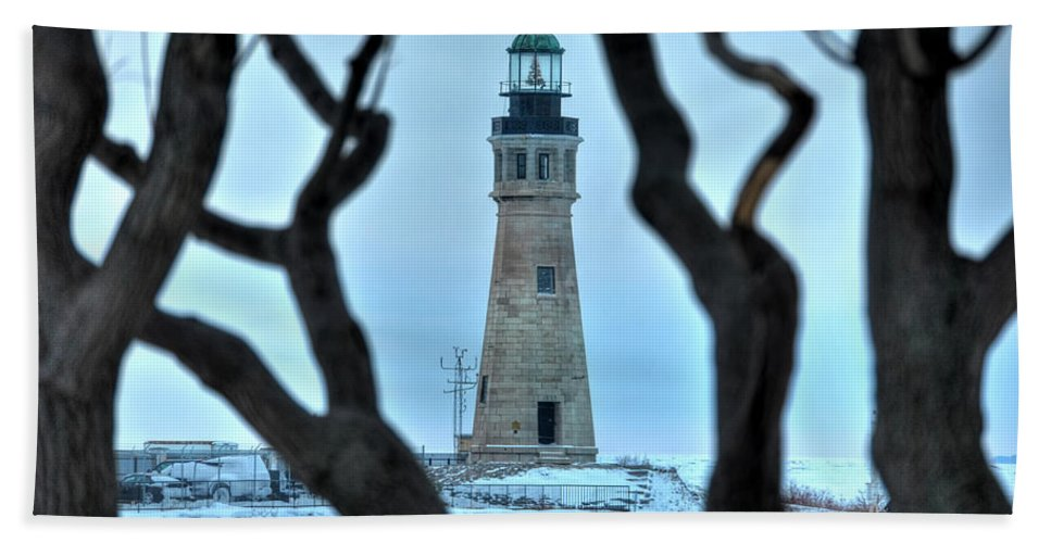 Lighthouse Bath Sheet featuring the photograph Through The Trees by Michael Frank Jr