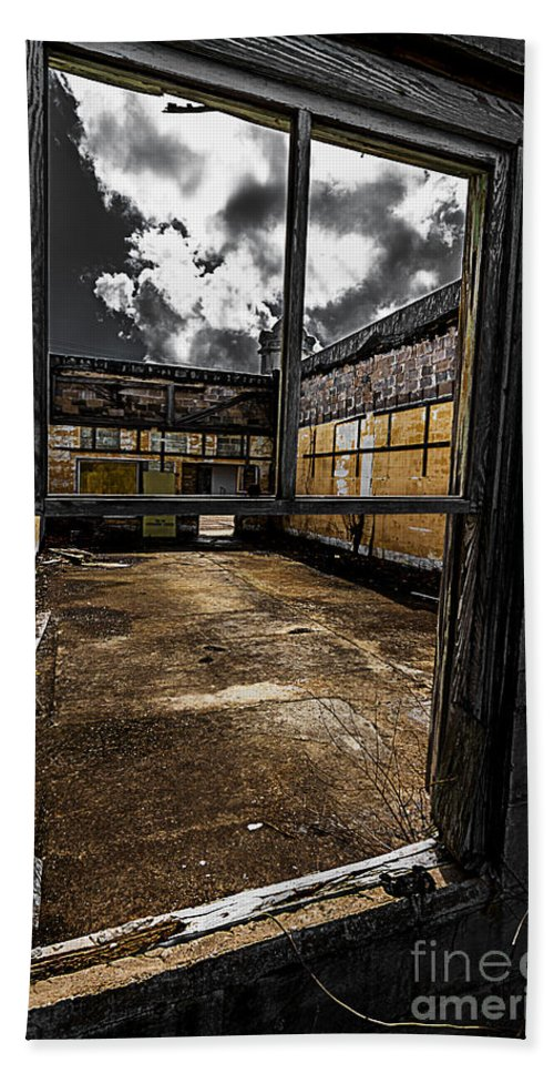 Abandoned Hand Towel featuring the photograph Through The Window by Ken Frischkorn