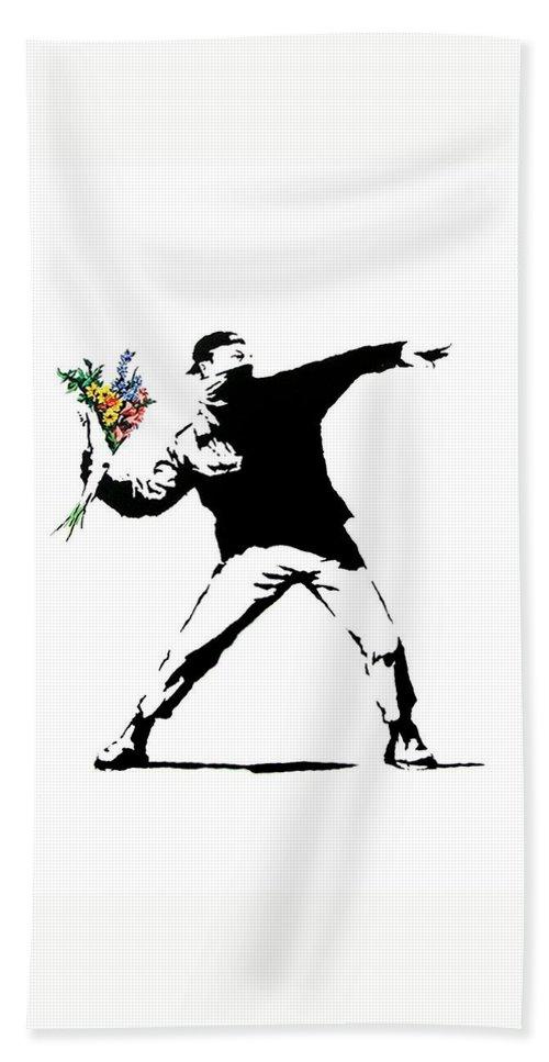 Banksy Bath Towel featuring the photograph Throwing Love by Munir Alawi