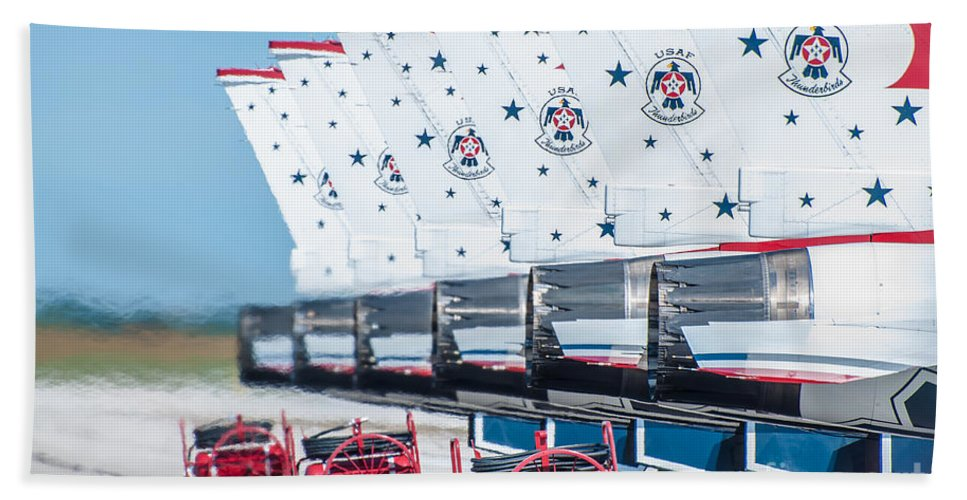 Navy Hand Towel featuring the photograph Thunderbirds by Amel Dizdarevic