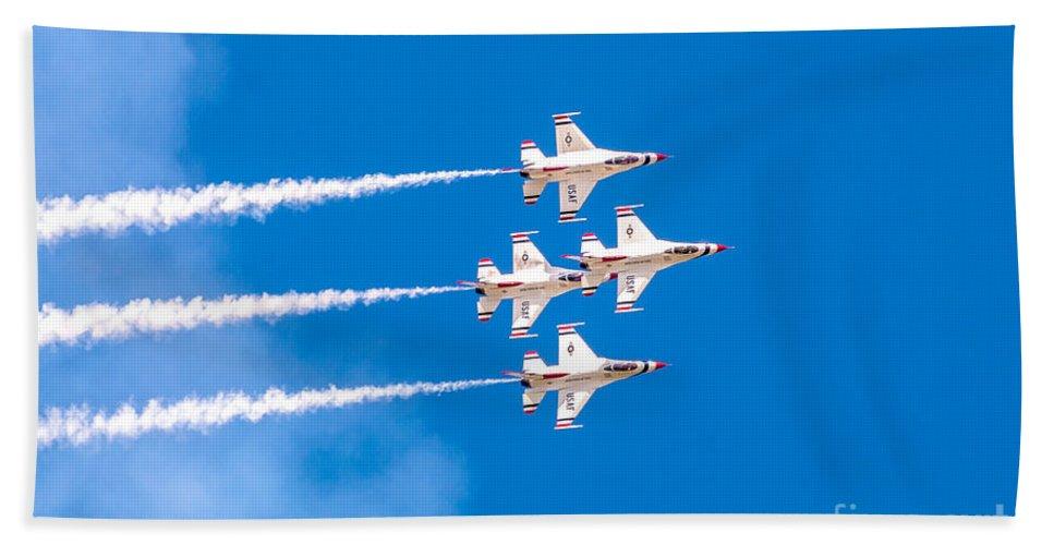 Thunderbirds Bath Sheet featuring the photograph Thunderbirds And Blue Sky by Amel Dizdarevic